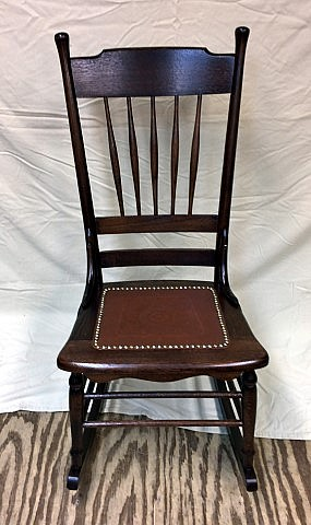 Late 19th Century Oak Rocker With Embossed Pressboard Seat